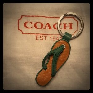 Rare*Vintage COACH Green Leather Flip Flop Fob